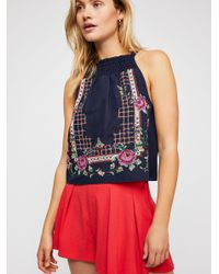Free People - Blue Honey Pie Embroidered Tank Top - Lyst