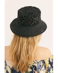Free People Black Quinn Crochet Straw Bucket Hat