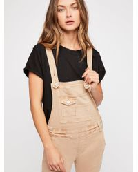 Free People Black Washed Denim Overall