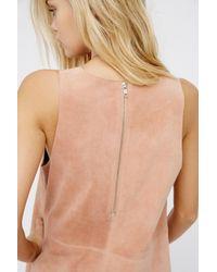 Free People - Pink Retro Love Suede Mini Dress - Lyst