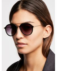 Free People - Black Rhodes Matte Aviator Sunglasses - Lyst