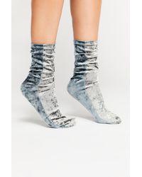 Free People Metallic Colorblock Velour Socks