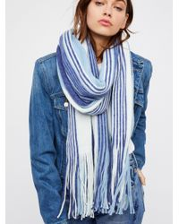 Free People - Blue Kolby Striped Fringe Scarf - Lyst
