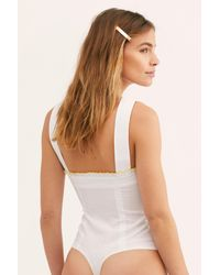 Free People White Sweetest Girl Bodysuit By Intimately