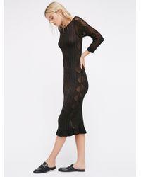 Free People | Black Astrid Pointelle Midi Dress | Lyst