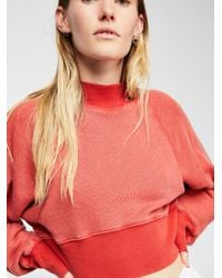 Free People Red Keep It Cropped Pullover