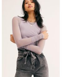 Free People Purple Scrunch Sleeve Seamless