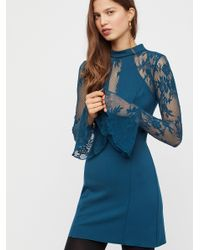 lyst free people clothes dresses it s now or never mini dress in blue