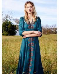 Free People Blue Clothes Dresses Maxi Dresses Embroidered Fable Dress