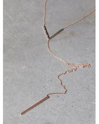 Free People | Metallic Black Diamond V Lariat | Lyst