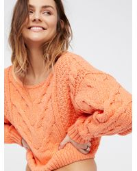 Free People | Orange Bonfire Sweater | Lyst