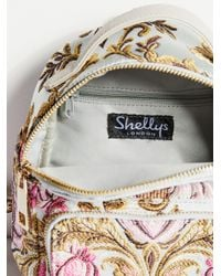 Free People Blue Brocade Floral Mini Backpack