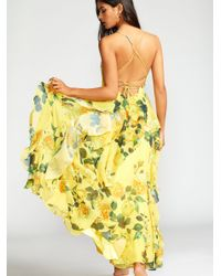 Free People Yellow Queen Ann Maxi Dress