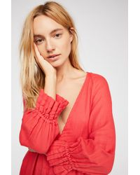 Free People - Red Sofiya Double Cloth Tunic By Cp Shades - Lyst