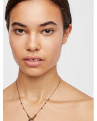 Free People - Brown Sylvie Silk Stone Necklace - Lyst