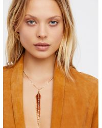 Free People - Metallic Glistening Delicate Feather Necklace - Lyst