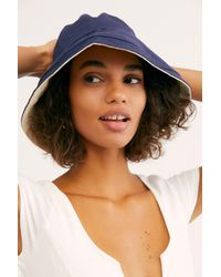 Free People Blue Maisy Reversible Canvas Hat