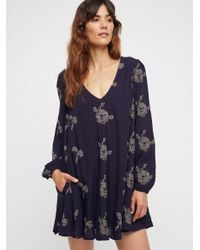 Free People Blue Embroidered Austin Dress