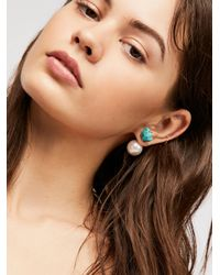 Free People Multicolor Raw Stone Double Sided Studs