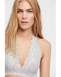 Free People Gray Intimates Bras Halters Galloon Lace Halter Bra