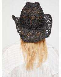 Free People Black Caballera Straw Cowboy Hat