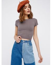 Free People | Gray Cap Sleeve Seamless Cami | Lyst