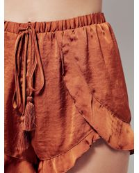 Free People | Brown Cascading Petal Short | Lyst