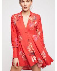 NWT Free People Field Of Butterflies Tunic Swingy Mini Dress Tomato Combo XS S