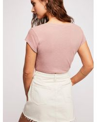 Free People - Multicolor Baby V-neck Tee By Intimately - Lyst