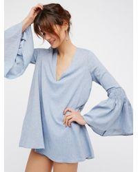 Free People Blue Chambray Mini Dress Romper