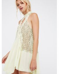 Free People | Yellow Cross My Heart In Lace Tunic | Lyst