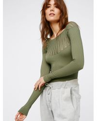 Free People | Green Cut Out Neck Long Sleeve Top | Lyst