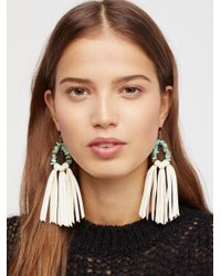 Free People | Natural Tahiti Stone Drop Leather Hoops | Lyst