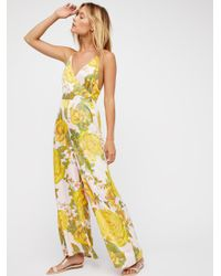 Free People - Yellow Cabbage Rose Romper - Lyst