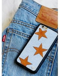 Free People White Denim X Leather Star Case