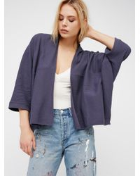 Free People | Blue Downtown Cardi | Lyst