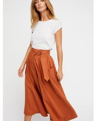 Free People | Orange Dream Of Me Midi Skirt | Lyst