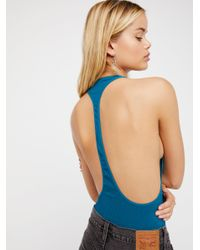 Free People - Blue Extreme T-back Seamless Cami - Lyst