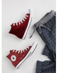Free People Red Shoes Sneakers Velvet High Top Sneakers