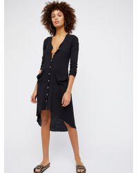 Free People - Black Ribbed Up Maxi Cardigan - Lyst