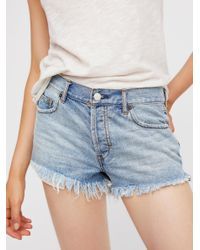 Free People - Blue Soft & Relaxed Cut Off - Lyst