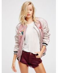 Free People - Red Bandit Denim Shorts - Lyst