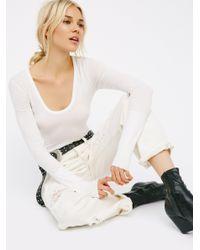 Free People | White Easy Peasy Tee Bodysuit | Lyst