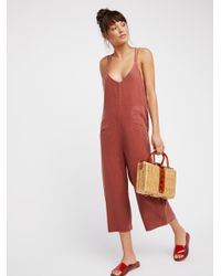 Free People Red Wide Leg One-piece