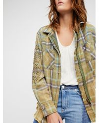 Free People Multicolor Deconstructed Shirt Jacket