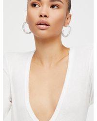 Free People Multicolor Metallic Flake Resin Tube Hoop Earrings
