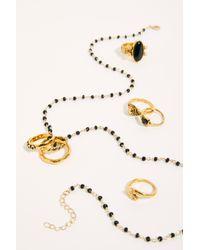 Free People Metallic Rosary Ring Set