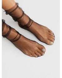 Free People | Black Felix Sheer Crew Socks | Lyst