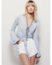 Free People Blue Fever Dream Wrap Top