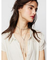 Free People | Metallic Flawed Leather Wrap Bolo | Lyst